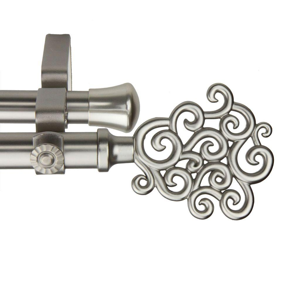 Rod Desyne 48 in. - 84 in. Double Telescoping Curtain Rod in Satin Nickel with Tidal Finial