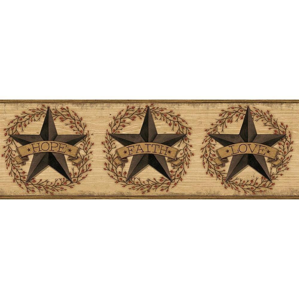 Faith Barn Star Brown Brown Wallpaper Border