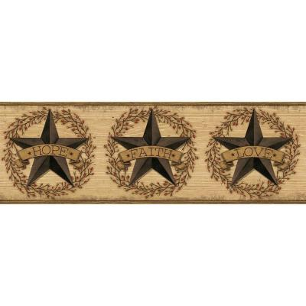 Faith Barn Star Brown Wallpaper Border Sample