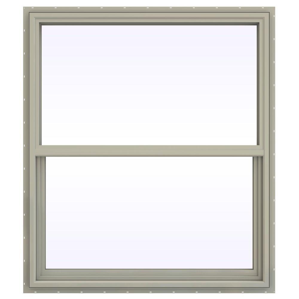 JELD-WEN 41.5 in. x 47.5 in. V-4500 Series Single Hung Vinyl Window - Tan
