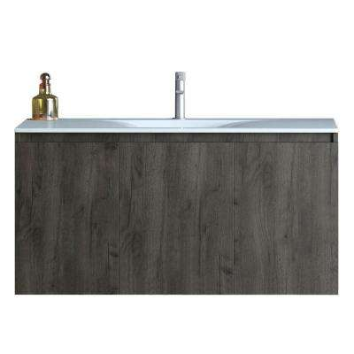 36 in. W x 18 in. D x 20 in. H Floating Wall Mount Bath Vanity in Walnut with Vanity Top in White with White Basin
