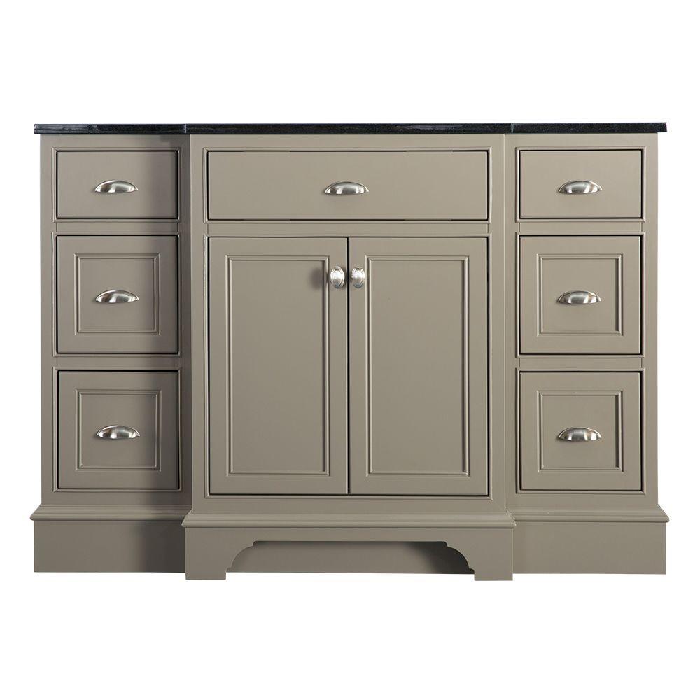 Hayward 49 in. W x 22 in. D Vanity in Warm Grey with Granite Vanity Top in Black with White Basin