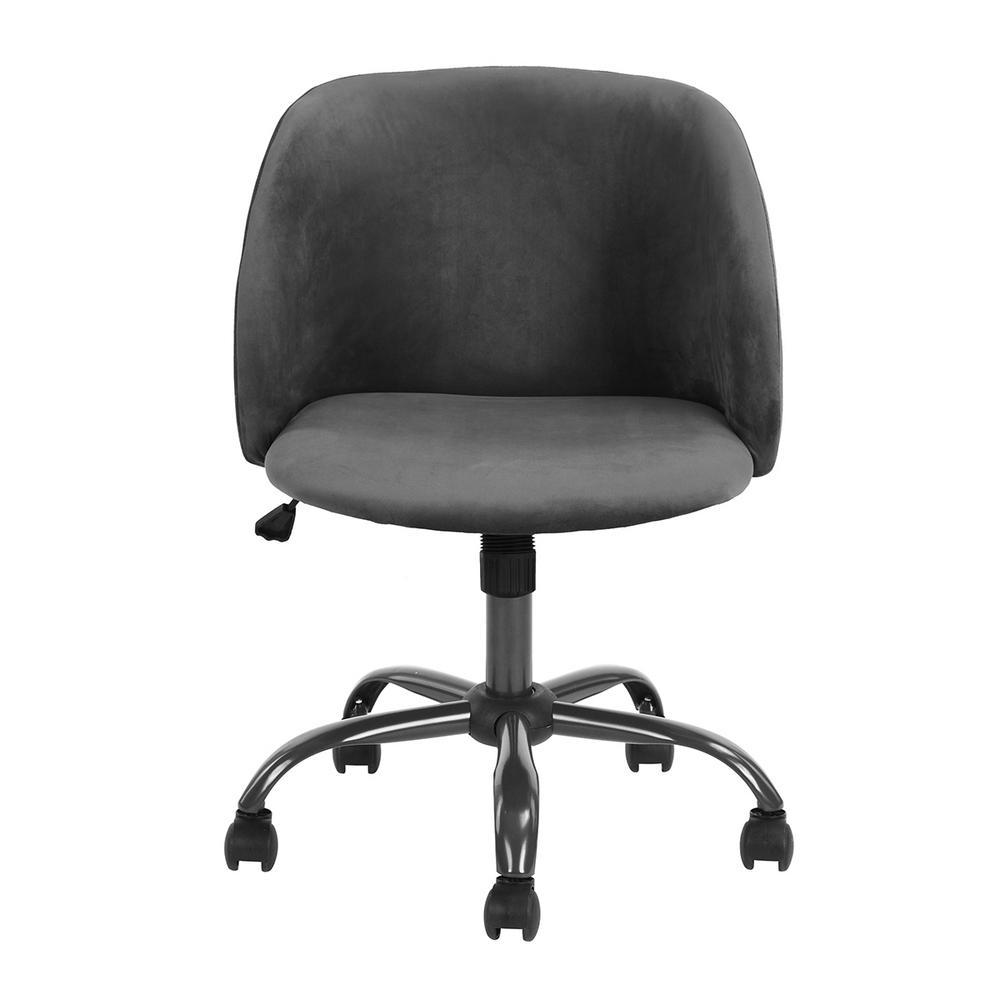 Matthews Grey Velvet High Adjustment Swivel Office Desk Chair