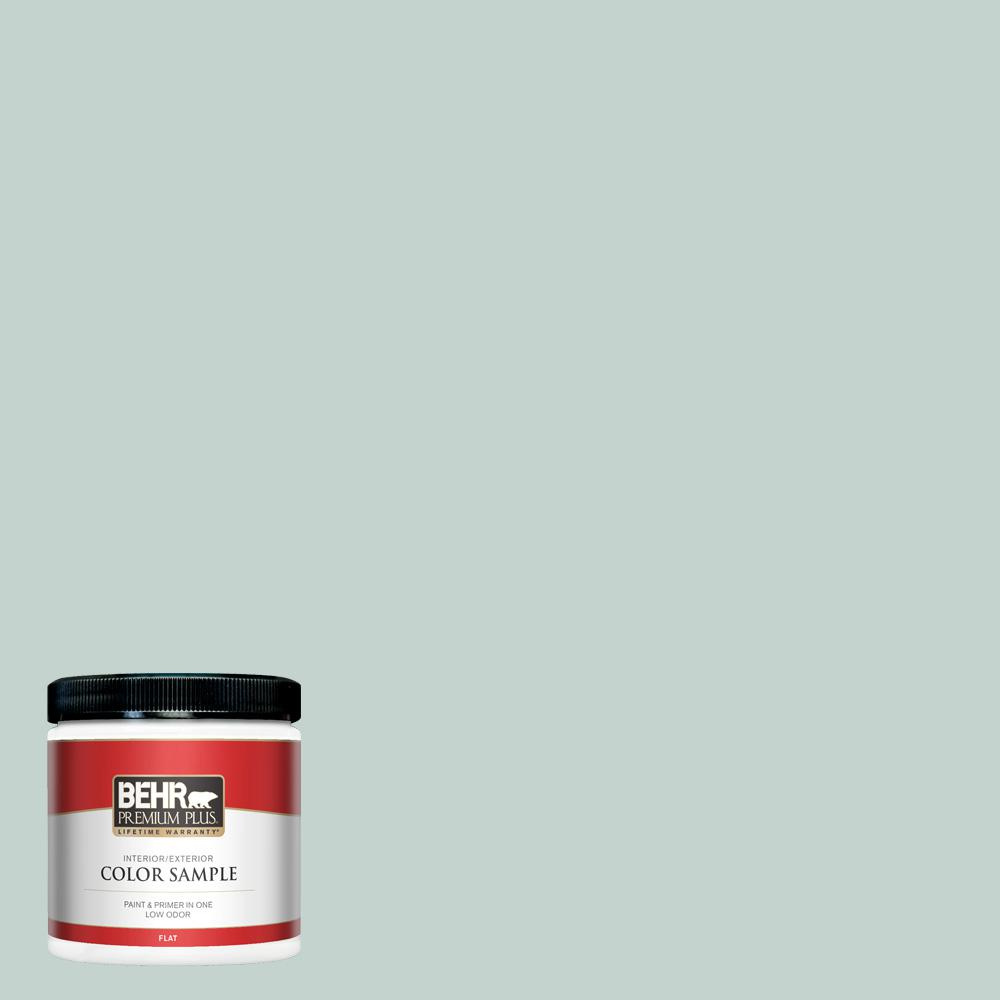 BEHR PREMIUM PLUS 8 oz. #N430-2 Natures Reflection Flat Interior/Exterior Paint and Primer in One Sample