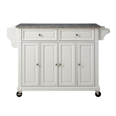 Full Size White Kitchen Cart with Granite Top