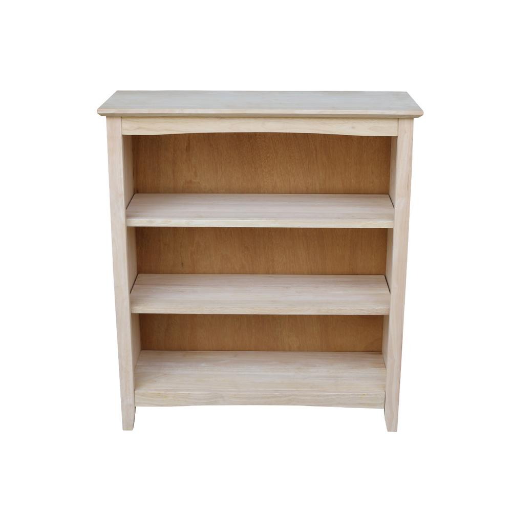 36 in. Unfinishe Wood 3-shelf Standard Bookcase with Adjustable Shelves