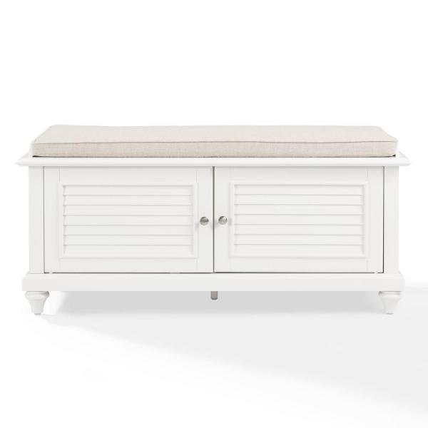 Miraculous Crosley Palmetto White Entryway Bench Cf6010 Wh The Home Depot Cjindustries Chair Design For Home Cjindustriesco