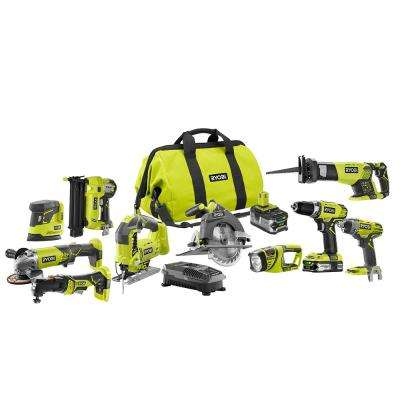 18-Volt ONE+ Lithium-Ion Cordless (10-Tool) Combo Kit with (1) 4.0Ah Battery and (1) 1.5Ah Battery, Charger and Bag