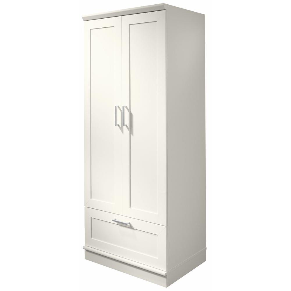 SAUDER Home Visions Laminate Wardrobe/Storage Cabinet with Drawer in Soft White