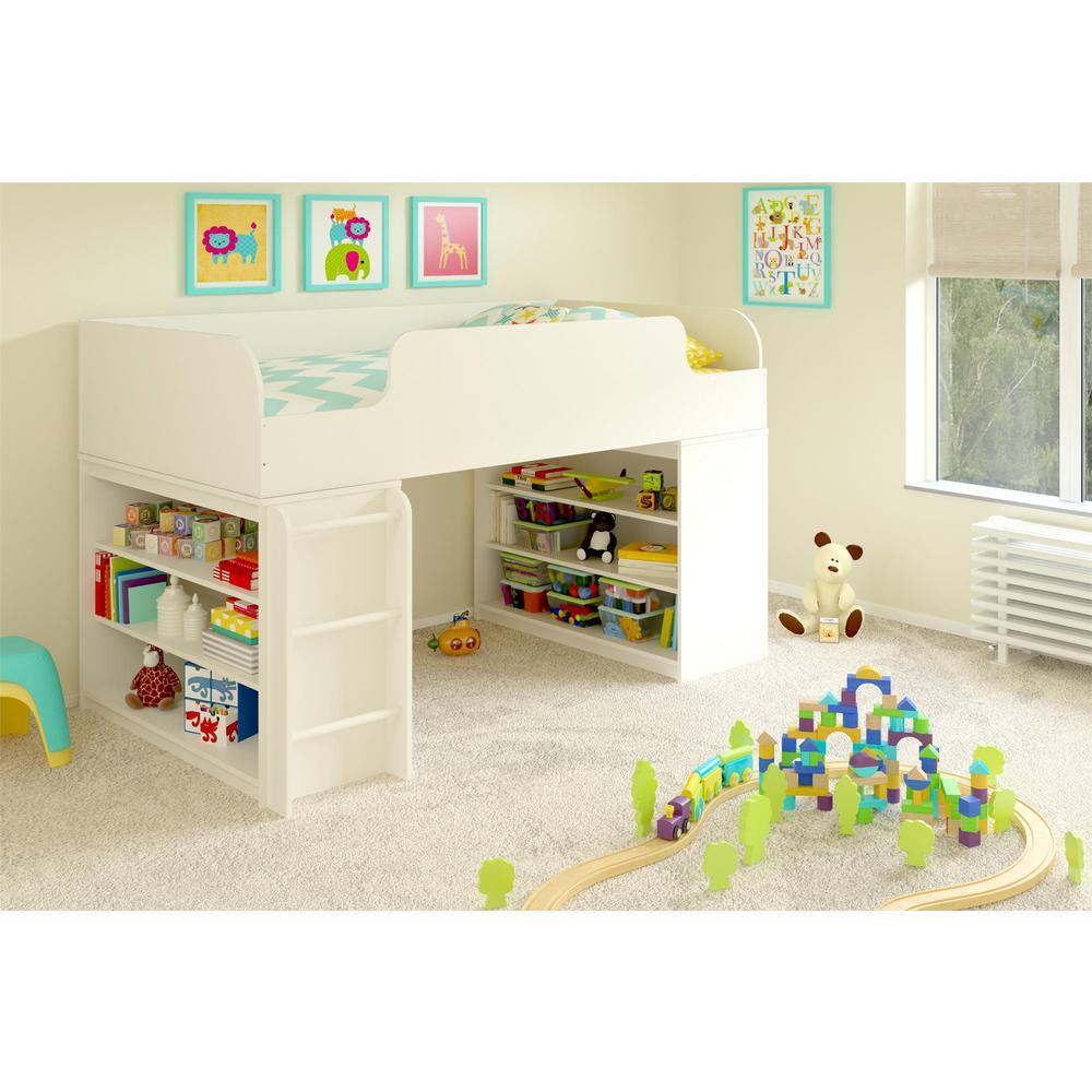 Ameriwood White Twin Bedroom Set Elements