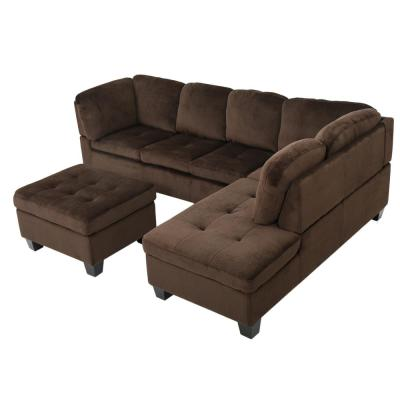 3-Piece Chocolate Brown Tufted Seat Fabric Sectional and Ottoman Set