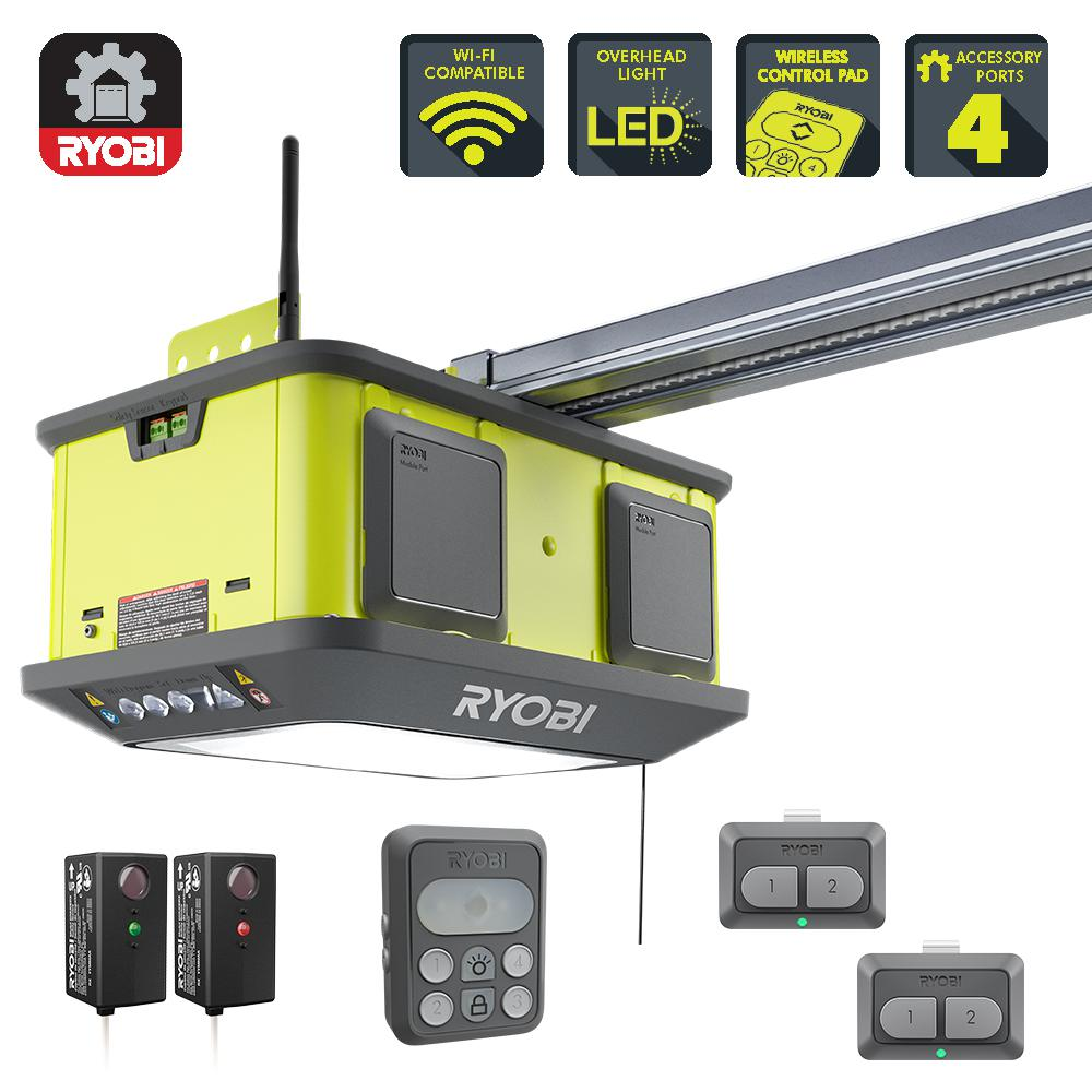 RYOBI Quiet Compact 1-1/4 HP Belt Garage Door Opener