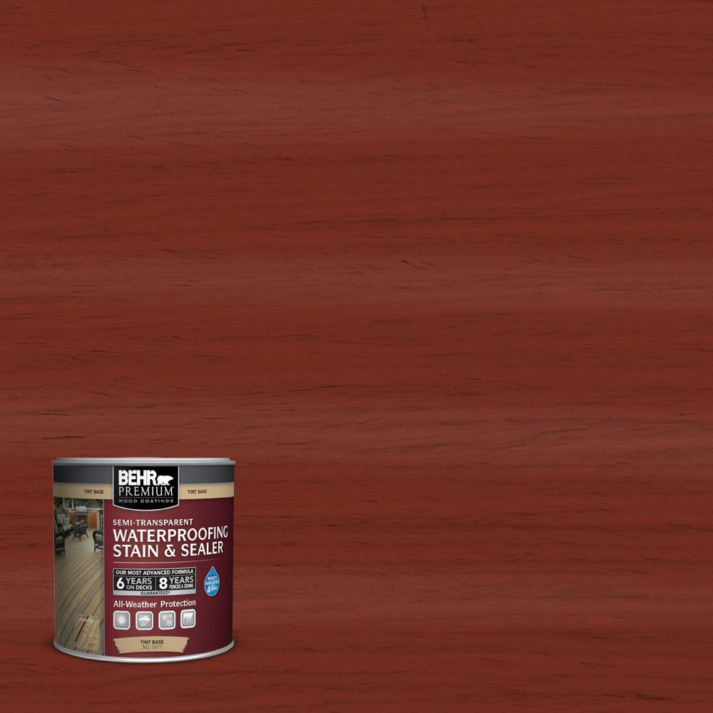 BEHR Premium 8 Oz. #ST-330 Redwood Semi-Transparent Waterproofing Exterior Wood Stain And Sealer