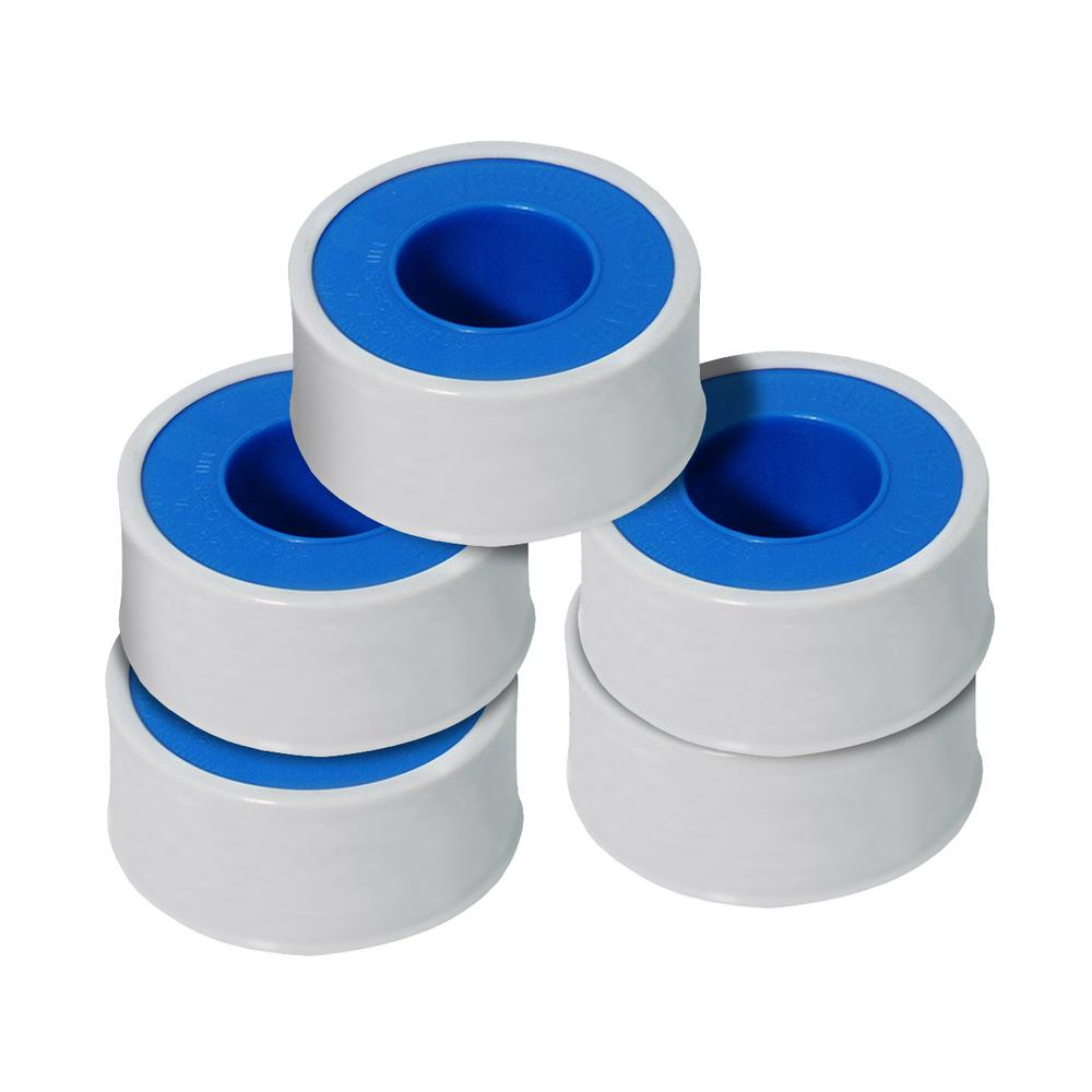 The Plumber's Choice 3/4 in. x 260 in. PTFE Thread Seal Tape for Plumbers in White (Pack of 5-Rolls)