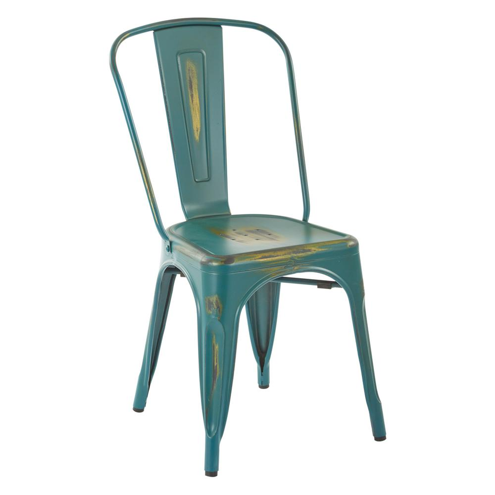 Bristow Antique Turquoise Armless Metal Chair (2-Pack)