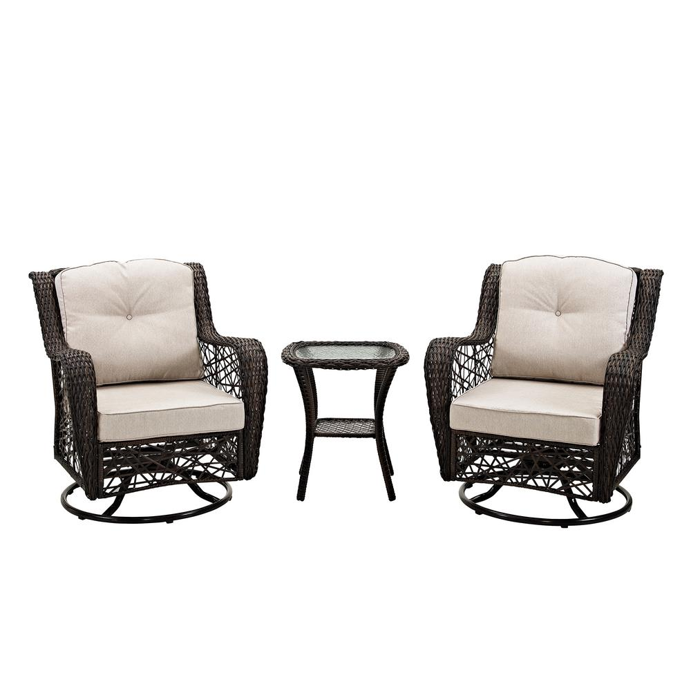 Walker Edison Furniture Company 3 Piece Wicker Outdoor Dining Set With White Cushions