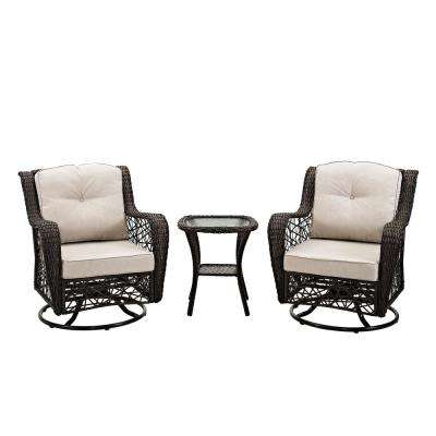 3-Piece Wicker Outdoor Dining Set with white Cushions