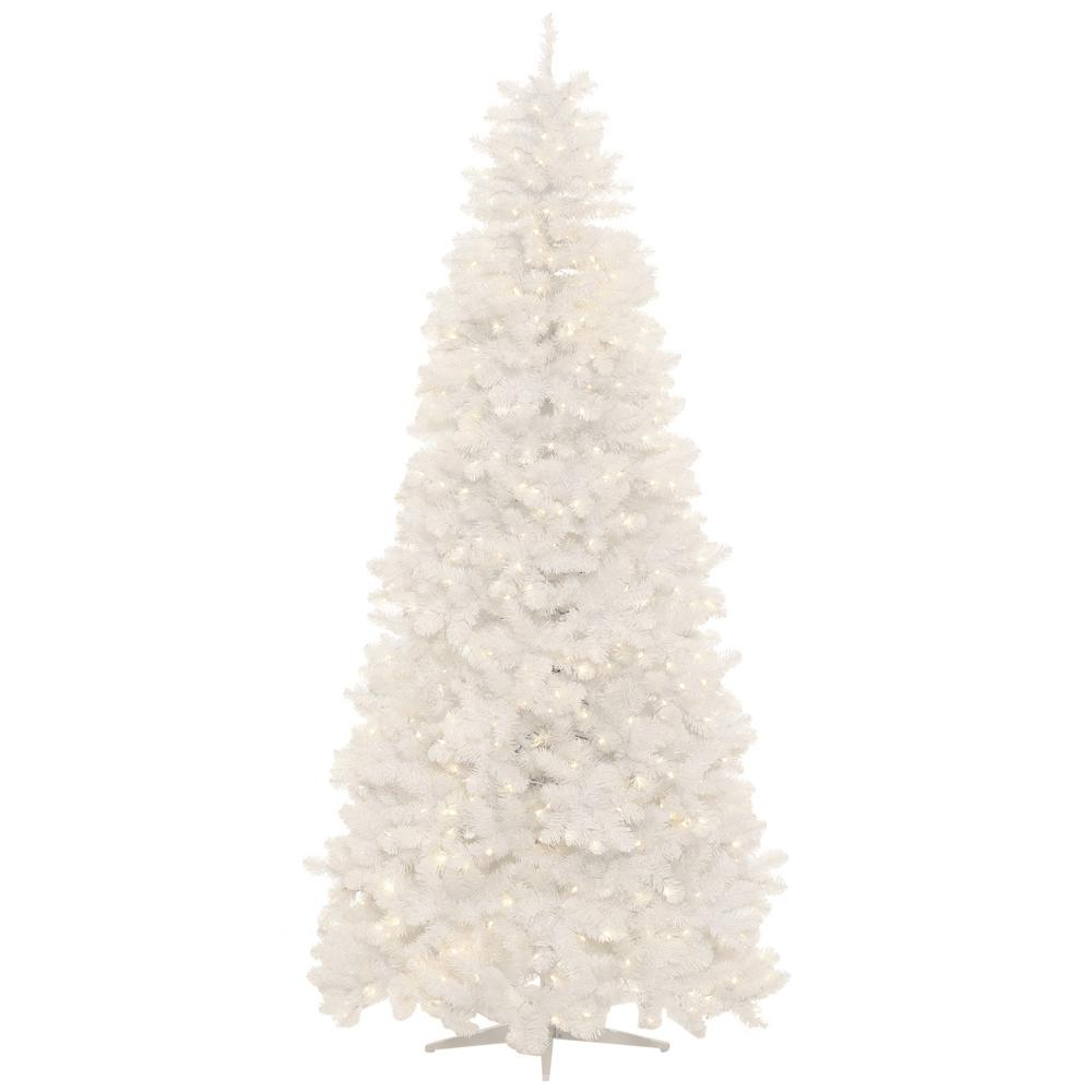 Christmas Tree White Lights.Home Accents Holiday 9 Ft Pre Lit Led Glossy White North Hill Spruce Artificial Christmas Tree With 700 Warm White Lights