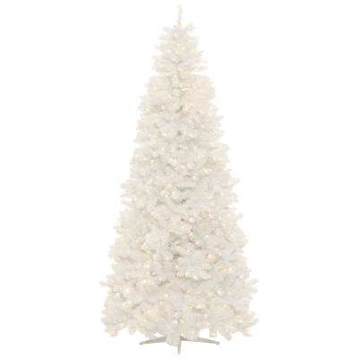 White Christmas Tree.9 Ft Pre Lit Led Glossy White North Hill Spruce Artificial Christmas Tree With 700 Warm White Lights
