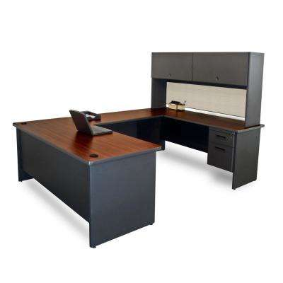 8 ft. 6 in. W x 6 ft. D Dark Neutral and Chalk U-Shaped Desk with Flipper Do or Unit