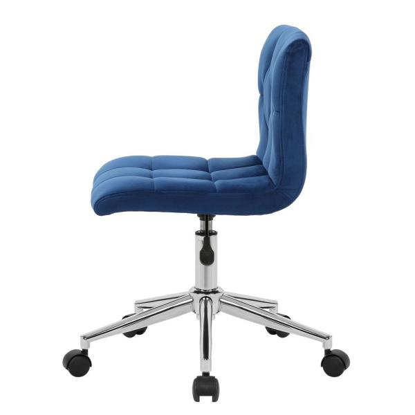 Glamour Home Amali Blue Velvet Upholstered Adjustable Height Swivel Office Chair With Wheel Base Ghtsc 1464 The Home Depot