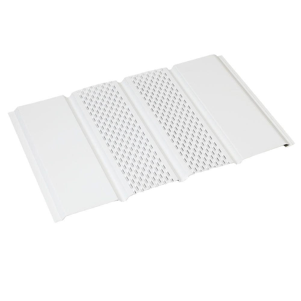 Amerimax Home Products 144 in  White Aluminum 4 Panel Center Vent Soffit 77117    The Home Depot. Amerimax Home Products 144 in  White Aluminum 4 Panel Center Vent