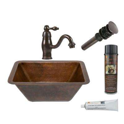 All-in-One Small Rectangle Under Counter Hammered Copper Bathroom Sink in Oil Rubbed Bronze