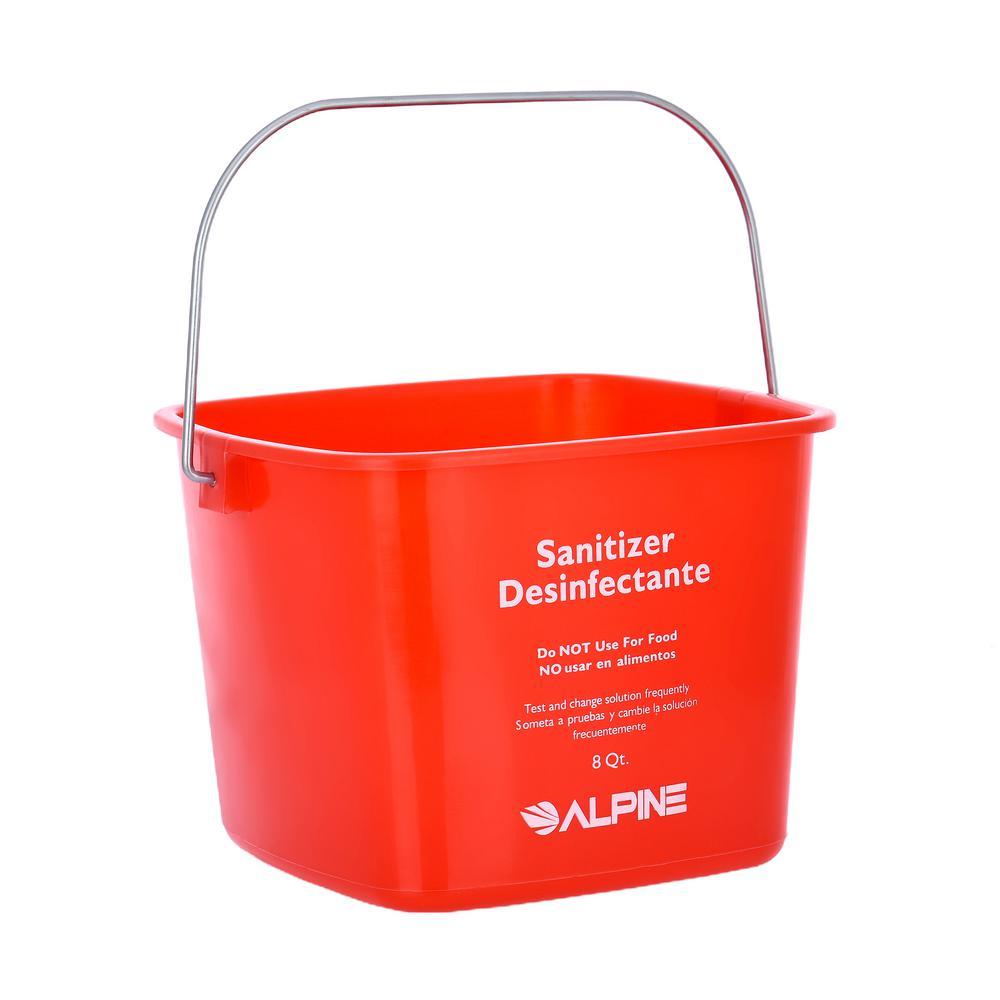 Alpine Industries 8 Qt. Red Plastic Cleaning Bucket Pail