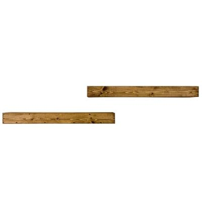 Artisan Haute 6in x 36in x 3.5in Dark Walnut Pine Wood Floating Box Set of Two Decorative Wall Shelves