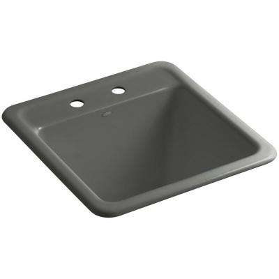 Park Falls 22 in. x 21 in. Cast Iron Drop-In/Undermount Utility Sink in Thunder Grey