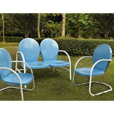 Griffith Blue 3-Piece Metal Patio Conversation Set