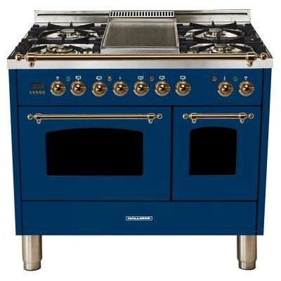 40 in. 4.0 cu. ft. Double Oven Dual Fuel Italian Range with True Convection, 5 Burners, Griddle, Bronze Trim in Blue