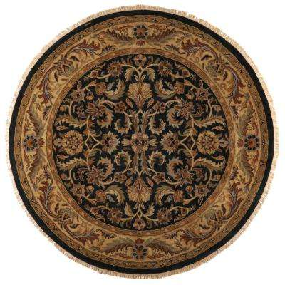 Chantilly Black 7 ft. 9 in. x 7 ft. 9 in. Round Area Rug