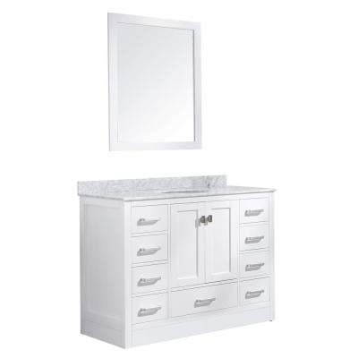 Chateau 48 in. W x 36 in. H Skirted Bath Vanity in White with Vanity Top in Carrara White with White Basin and Mirror