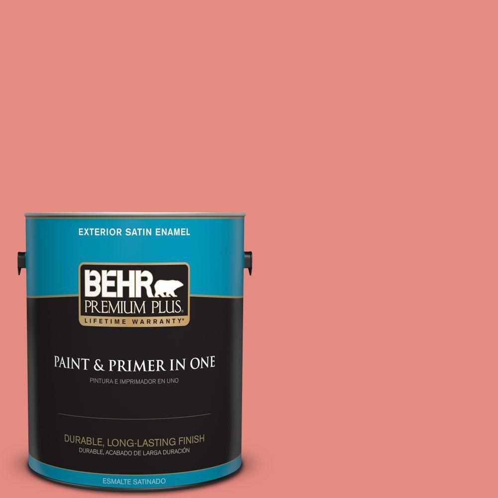 BEHR Premium Plus 1-gal. #190D-5 Peony Pink Satin Enamel Exterior Paint
