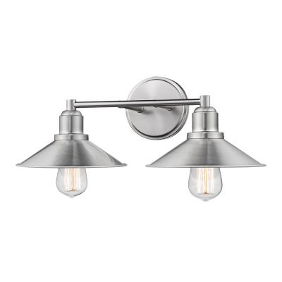 Cortez 2-Light Brushed Nickel Bath Light with Brushed Nickel Steel Shade