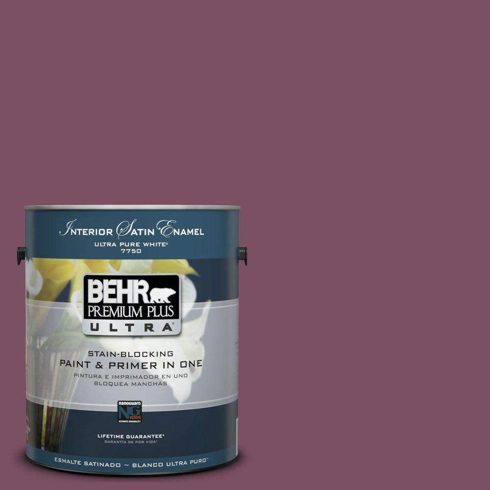 BEHR Premium Plus Ultra 1-Gal. #UL100-20 Classic Berry Interior Satin Enamel Paint-DISCONTINUED