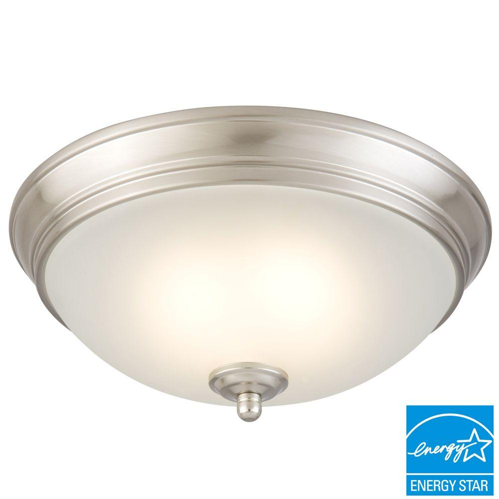 11 In. 60 Watt Equivalent Brushed Nickel Integrated LED Flushmount With  Frosted White Glass