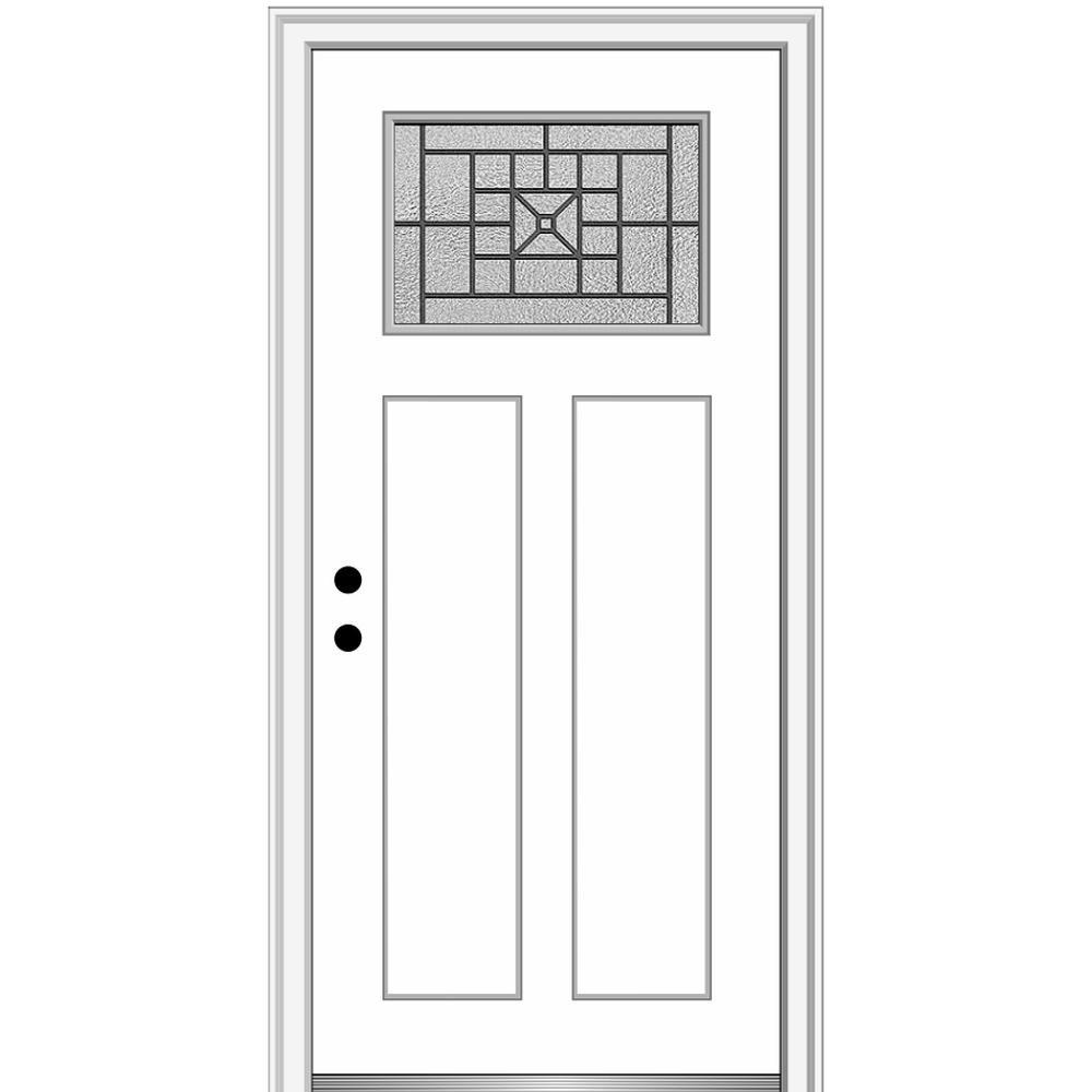 MMI Door 36 in. x 80 in. Courtyard Right-Hand 1-Lite Decorative Craftsman 2-Panel Painted Fiberglass Smooth Prehung Front Door, Brilliant White was $1527.99 now $994.0 (35.0% off)
