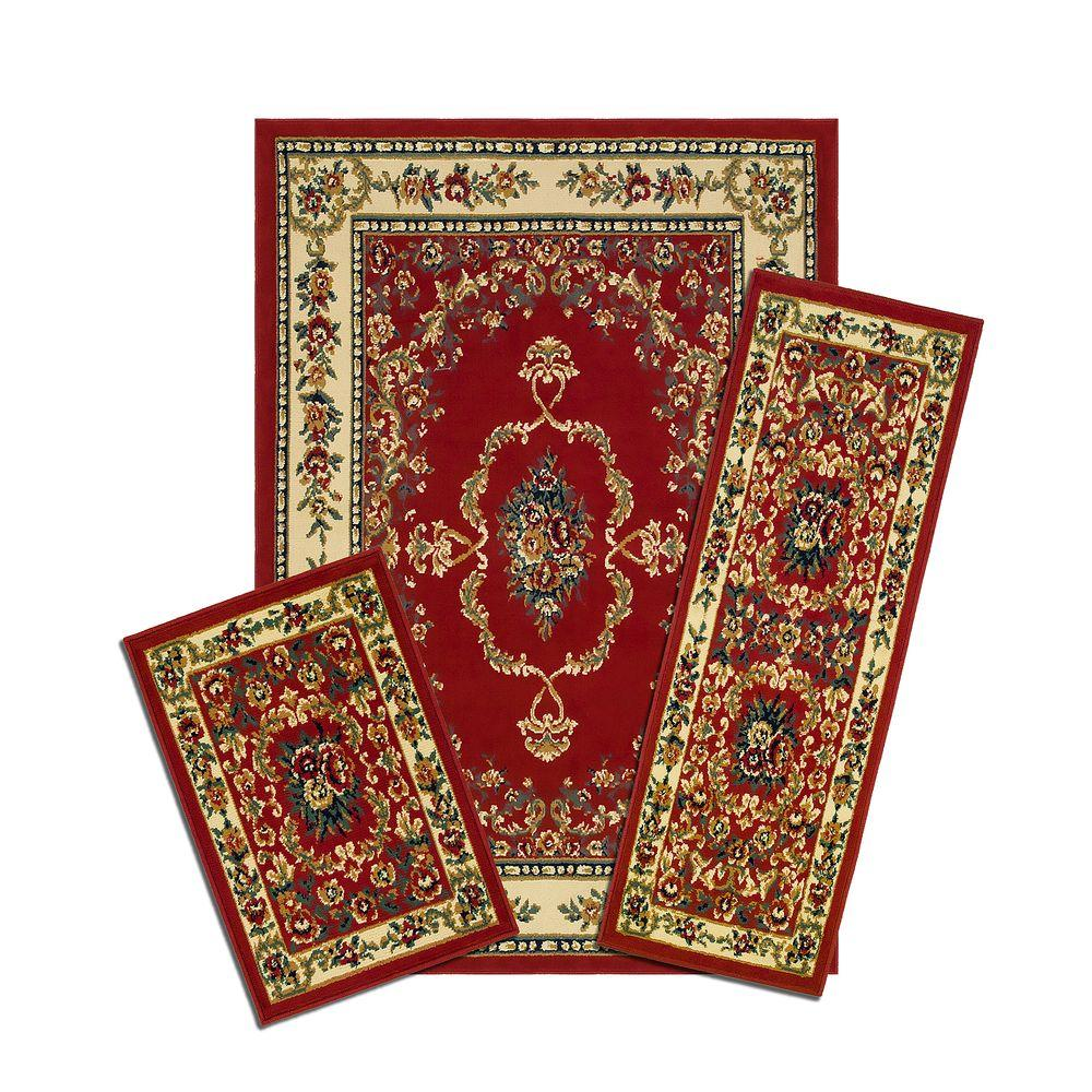 Capri Savonnerie Red 5 ft. x 7 ft. 3-Piece Rug Set