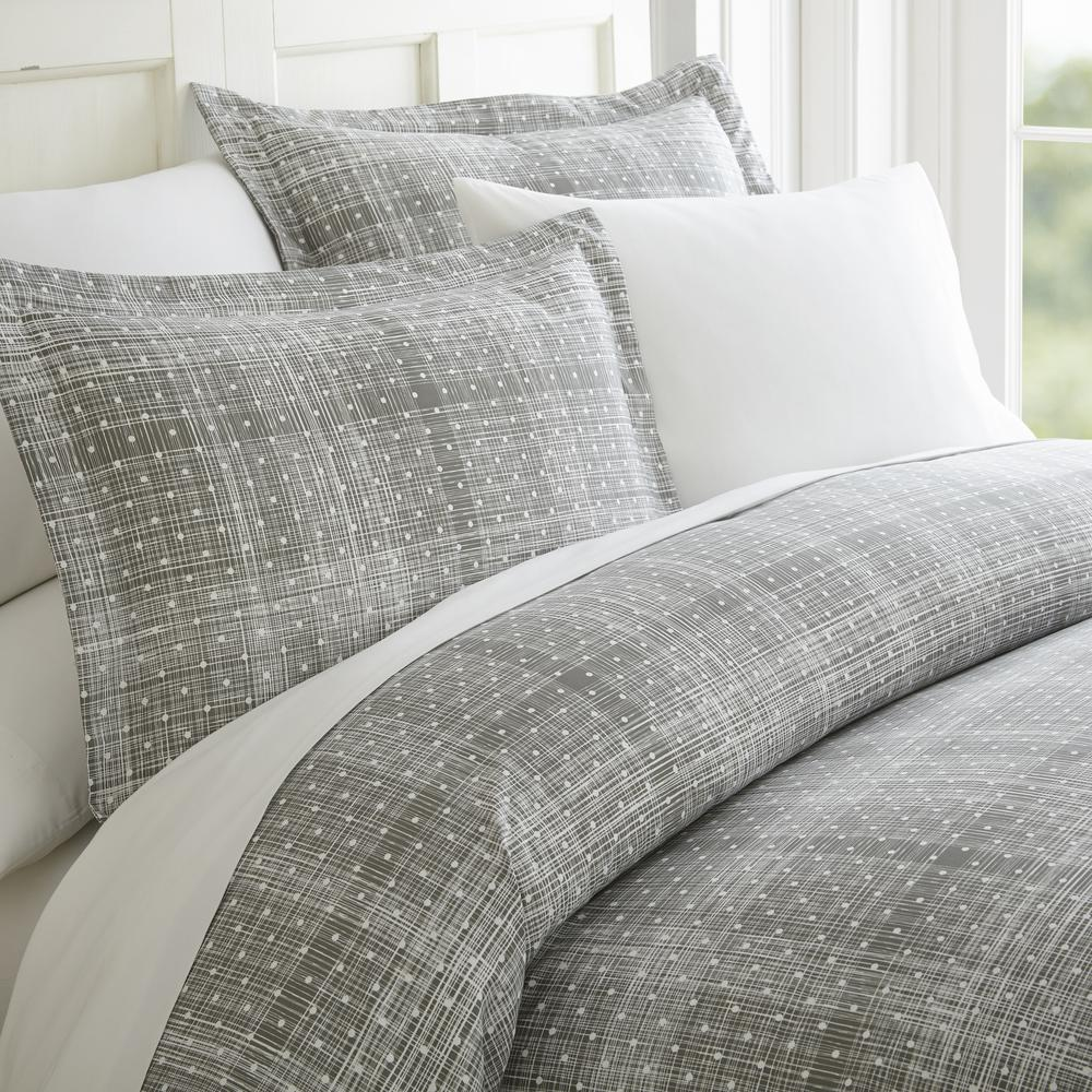 Polka Dot Patterned Performance Gray Queen 3-Piece Duvet Cover Set