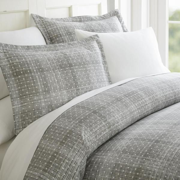 Becky Cameron Polka Dot Patterned Performance Gray Queen 3-Piece Duvet Cover
