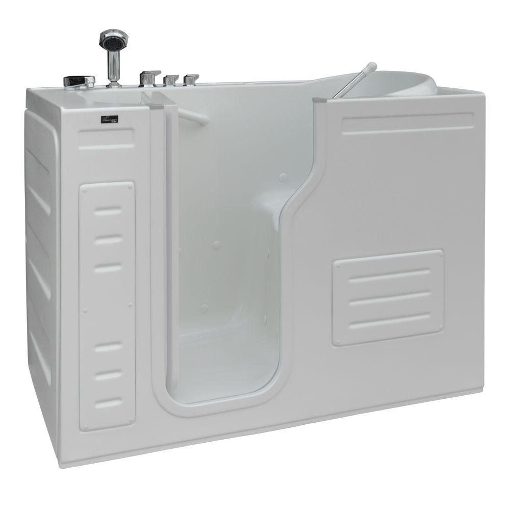 Aurora 4.27 ft. Left Drain Walk-In Heated Air Bath Tub in White