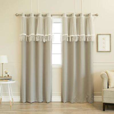 52 in. W x 84 in. L uMIXm Leaf Fringe Valance & Blackout Curtains in Dove (4-Pack)