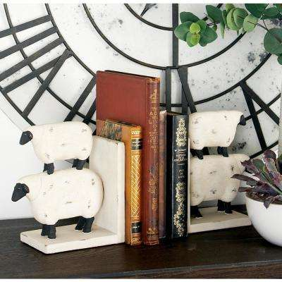 Distressed White Polystone Sheep Bookends with Black Accents (Set of 2)