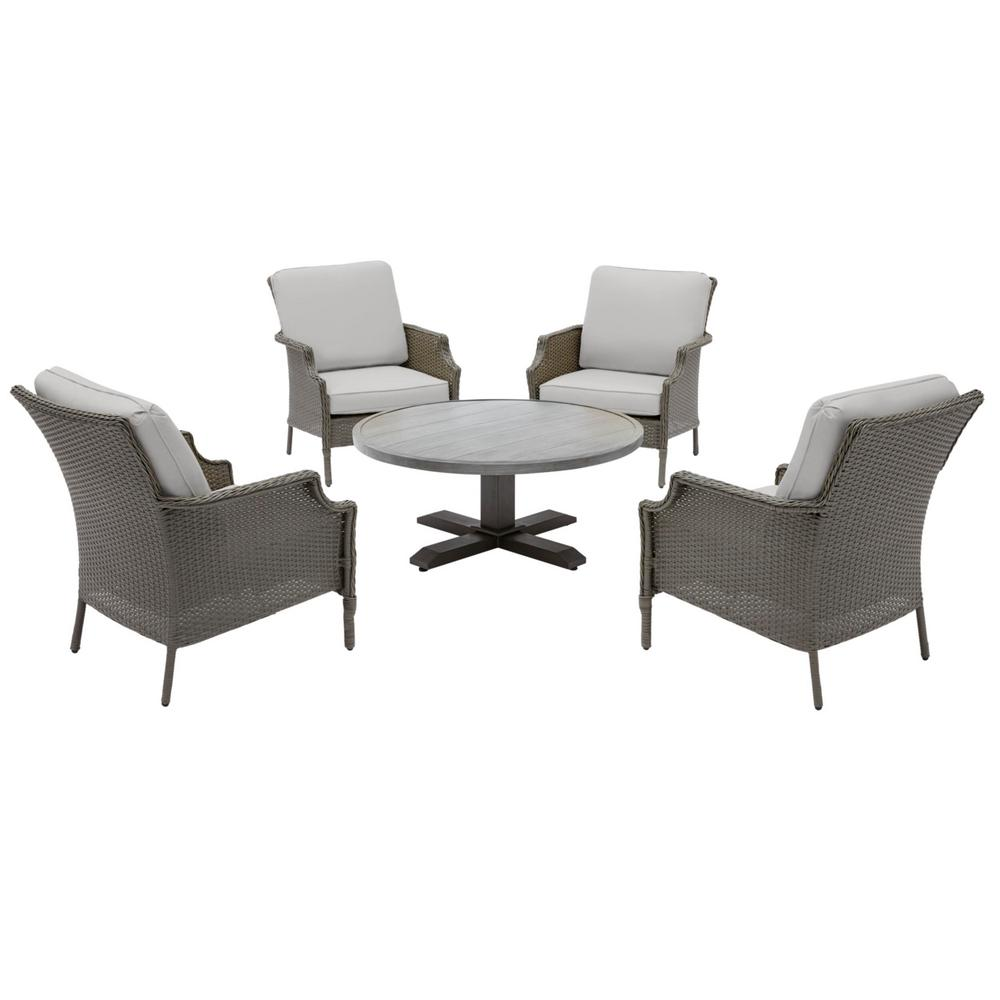 Hampton Bay Grayson Ash Gray 5-Piece Wicker Outdoor Patio Conversation Seating Set with CushionGuard Stone Gray Cushions was $599.0 now $379.0 (37.0% off)