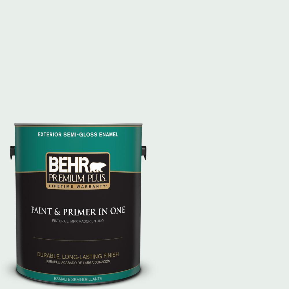 BEHR Premium Plus 1-gal. #460C-1 Aegean Mist Semi-Gloss Enamel Exterior Paint