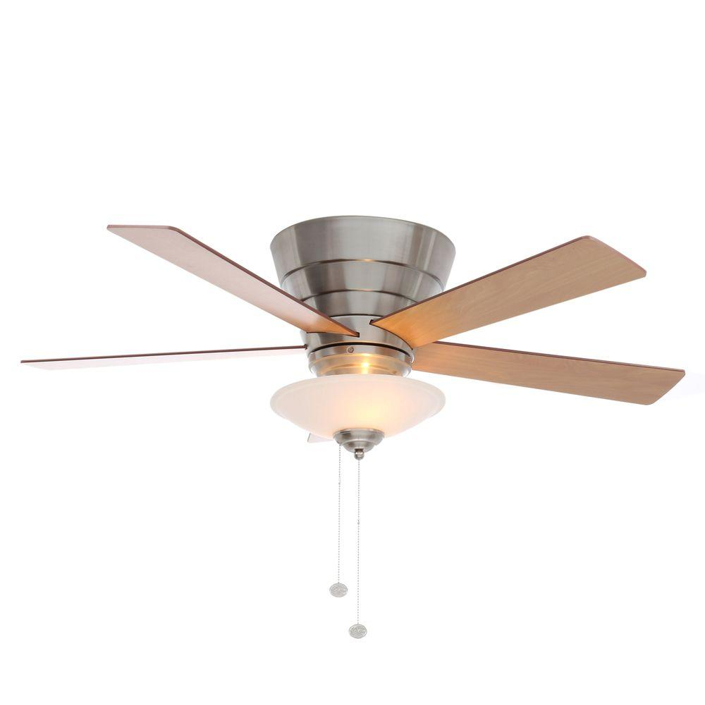 Hampton bay ceiling fans lighting the home depot andross 48 in indoor brushed nickel ceiling fan with light kit aloadofball Images