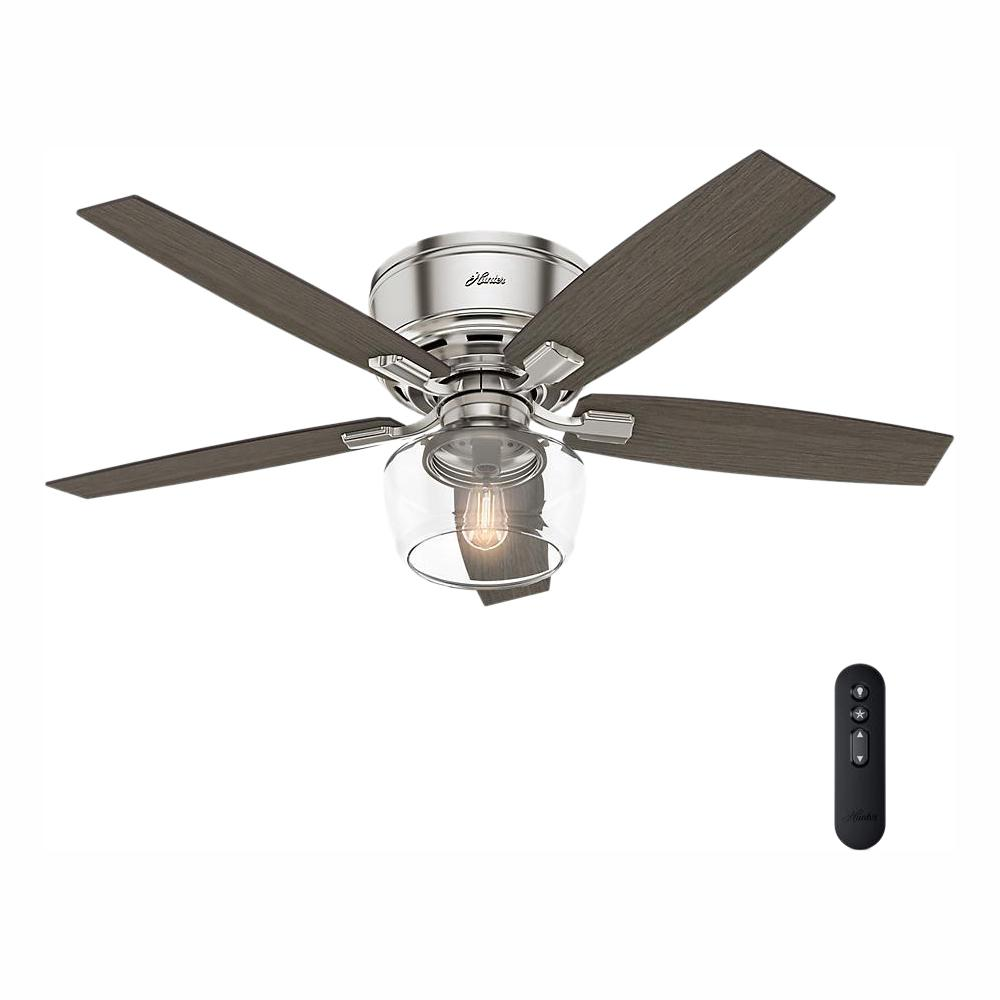Hunter Bennett 52 in. LED Low Profile Brushed Nickel Indoor Ceiling Fan with light and remote