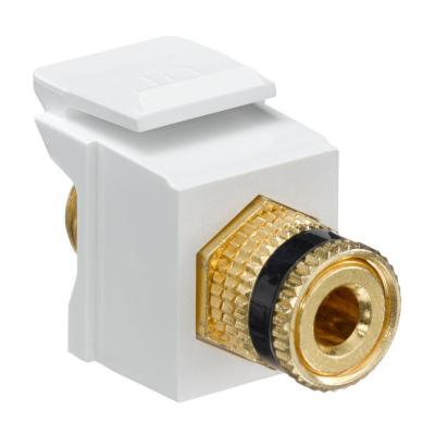 QuickPort Binding Post Black Stripe Connector, White